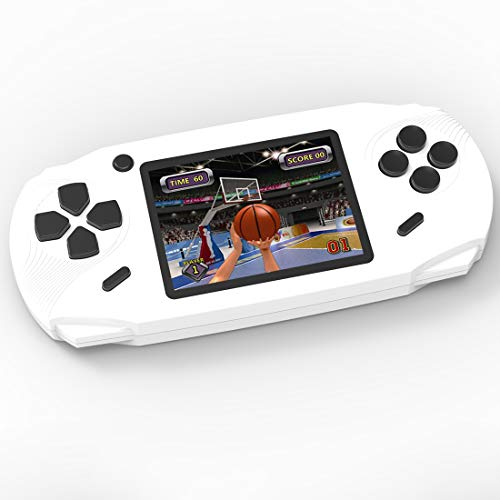 TEBIYOU Handheld Game Console, Built in 16 Bit100 HD Classic Video Games 3.0'' Large Screen Seniors Electronic Handheld Games Player Birthday Gift for Children Adults (White) (Best Handheld Gaming System For 4 Year Old)