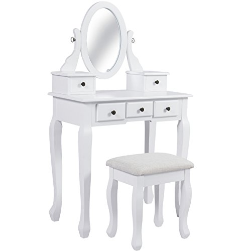 Best Choice Products Vanity Table And Stool Set W/Adjustable Oval Mirror, 5  Drawers, Padded Seat   White