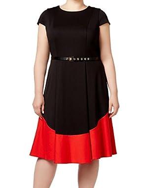 Calvin Klein Women's Plus Belted Sheath Dress Black 16W