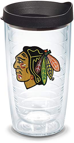 Tervis 1045163 NHL Chicago Blackhawks Primary Logo Tumbler with Emblem and Black Lid 16oz, Clear -