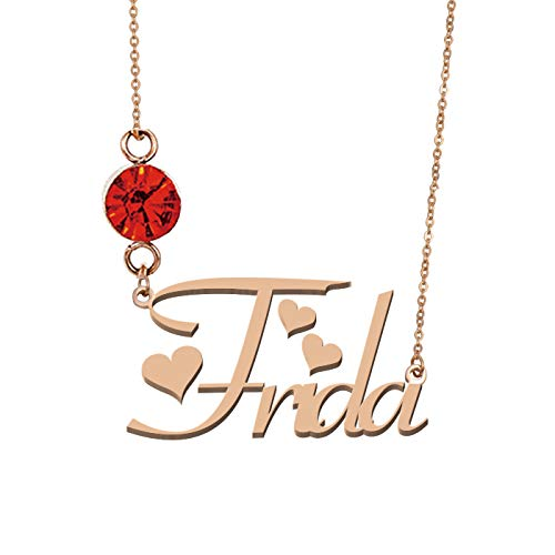 (HUAN XUN Custom Any Name Frida Necklaces Birthstone Pendant)