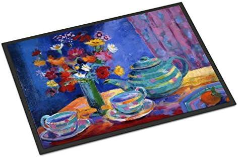 Caroline s Treasures HWH0010JMAT Blue Tea by Wendy Hoile Indoor or Outdoor Mat 24×36, 24H X 36W, Multicolor