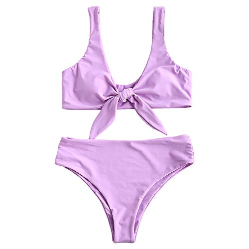 ZAFUL Womens Solid Color Strap Padded Front Knot Bikini Set (L, Mauve)