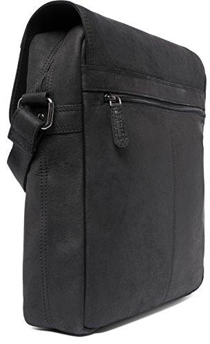 de bandolera auténtico Negro en el bolso búfalo estilo cuero LEABAGS Amsterdam vintage atT1qgw