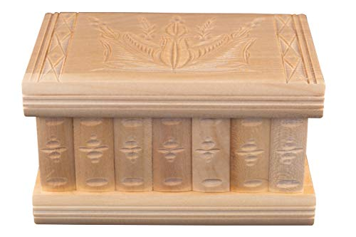 (Kalotart Jewelry and Puzzle Box 2 in 1 - Handmade Wooden Case with Hidden Key and Removable Compartments - Beautiful Classical Wooden Carved Jewelry Puzzle Box (Natural))