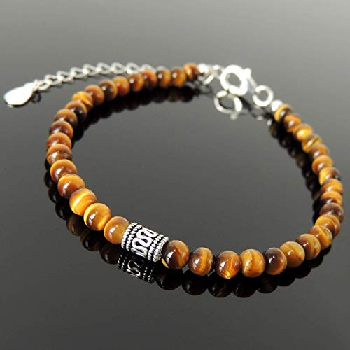 High Grade AA Tiger Eye Healing Crystal Gemstone 4mm Beads Unisex Vintage Boho Style Handmade Adjustable Chain Bracelet Guaranteed Lead Nickel Free Jewelry Non-Plated Sterling Silver, FREE Gift - Clasp Bracelet Polished