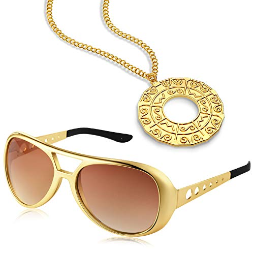 Disco Accessory Set 1 Pair 50's 60's Rock Star Gold Celebrity Sunglasses and 1 Piece Disco Necklace