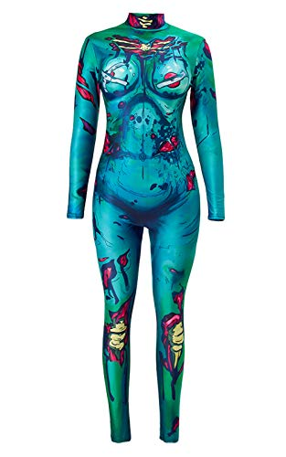 tuonroad 3d graphic printed halloween costumes ideas colorful turquoise blue yellow bones sexiest skeleton jumpsuit high neck full bodysuit catsuit for