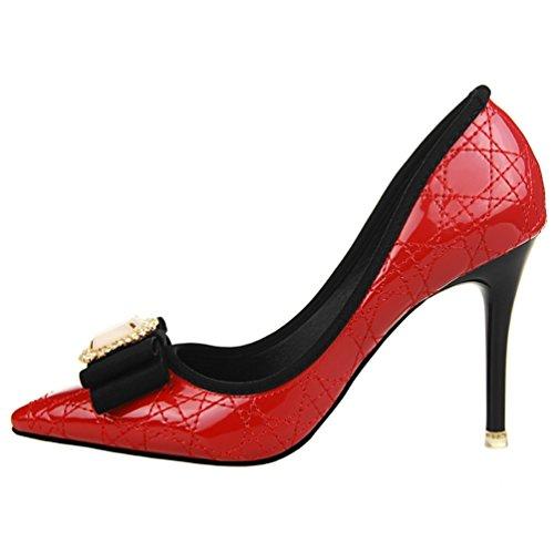 HooH Damen Diamanten Bowknot Stickerei Abendschuhe Pumps Rot
