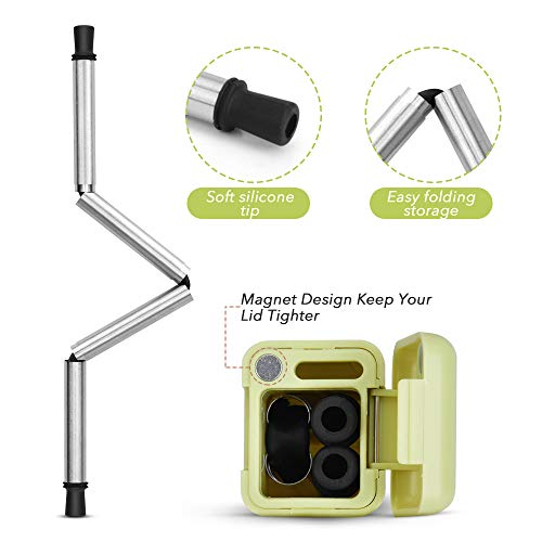 Collapsible Straw Reusable Stainless Steel, Folding Drinking Straws Keychain Foldable Final Premium Food-grade Portable Set with Hard Case Holder Cleaning Brush for Travel, Household, Outdoor-Green by Hydream (Image #1)