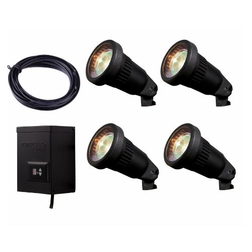 Paradise 4-Light Black Low-Voltage Halogen Spotlight Kit