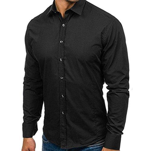 Sunhusing Gentlemen Slim Lapel Solid Color Long Sleeve Shirt Top Casual Formal Dress Blouse (Formal Dress Johnny)