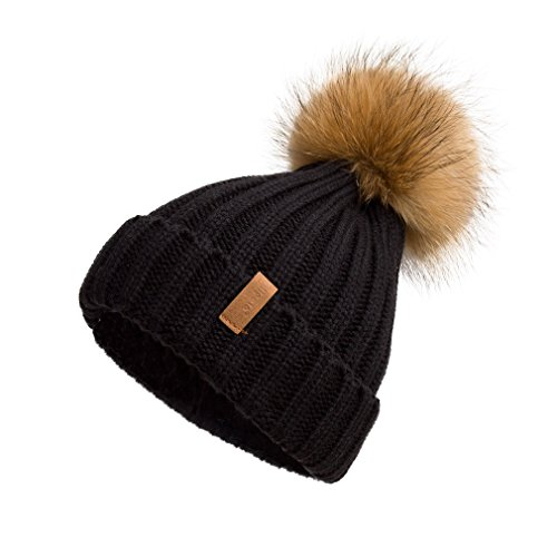 Pilipala Women Knit Winter Turn up Beanie Hat with Fur Pompom VC17604 Black Gold Pompom
