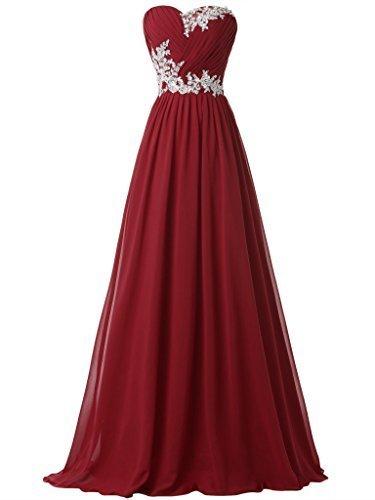Clocolor Women's Sweetheart Pleats Appliques Lace-up Long Evening Dress Lace A Line Chiffon Long Evening Prom Dress