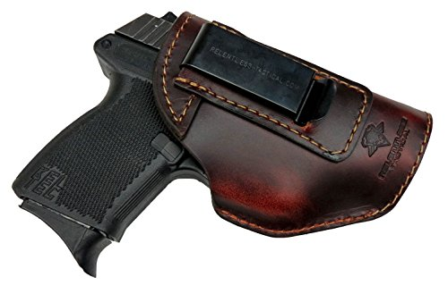 Relentless Tactical The Defender Leather IWB Holster - Made in USA - Fits Glock 42 | Ruger LC9, LC9s | Kahr CM9, MK9, P9 | Kel-Tec PF9, PF11 | Kimber Solo Carry - Brown Right Handed