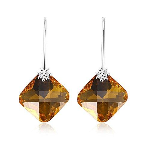 Fashion Elegant Sparkling Crystal Glass Geometric Rhombic Dangle Earrings Special Event Drop Earrings (Drop Glass Dangling Earrings)