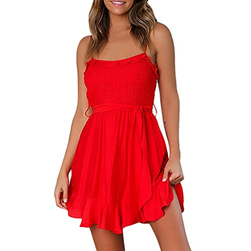 MOSERIAN Fashion Womens Mini Dress Sexy Casual Ruffles Belt Bandage Ladies Ruched Camis Mini Dress Red