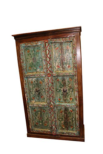 - Mogul Interior Antique armoire Rustic Christmas Green Blue Bohemian Painted Distressed Cabinet Rustic Chest Wardrobe Statement Decor Storage
