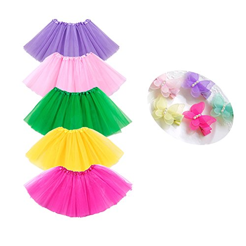 Bingoshine 5 Pack Tutu Skirt for Girls 3 Layers Ballet Dressing Up Kid Tutu Skirt
