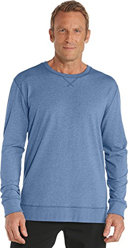 Coolibar UPF 50+ Men's Crew Neck Shirt - Sun Protective (Large- Pacific Heather)