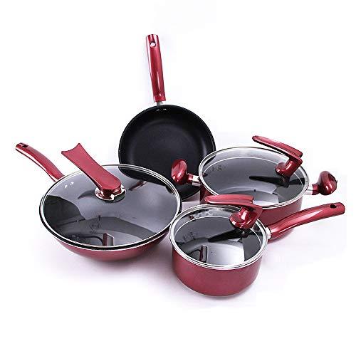 Juego de utensilios de cocina, sartén antiadherente de piedra maifan juego de cuatro estufas de uso general: Amazon.es: Hogar