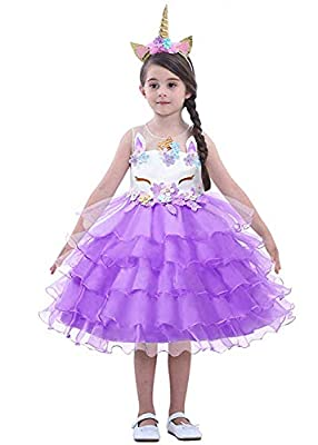 LZH Girl Unicorn Party Dress Cosplay Princess Birthday Party Dress-up