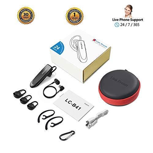 Bluetooth Earpiece Link Dream Wireless Headset with Mic 24Hrs Talktime Hands-Free in-Ear Headphone Compatible with iPhone Samsung Android Smart Phones, Driver Trucker (Black) by Link Dream (Image #6)