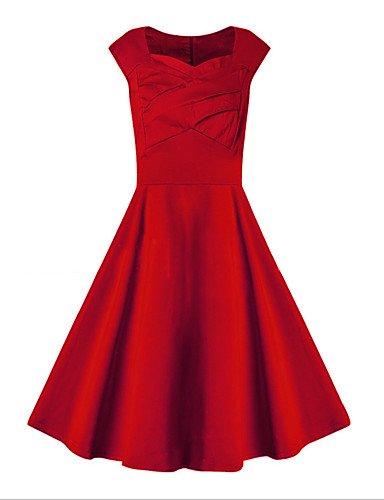 JIALE3536 Vestido Fiesta Mujer,De Fiesta Mujer Vestido De Fiesta,U Cuello Micro-Sin Mangas Elástica,S,Rojo Mediano Rojo