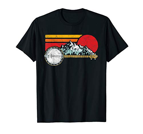 Retro Banjo Mountains and Sun Sketch Surf Style 80s Graphic T-Shirt for Bluegrass Fans