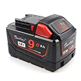 M18 AOYAN 18V Battery 9.0Ah Replacement Battery for Milwaukee M18B9 48-11-1890 48-11-1850 48-11-1820 48-11-1828 48-11-10 XC Red Lithium-ion Cordless Tools Battery