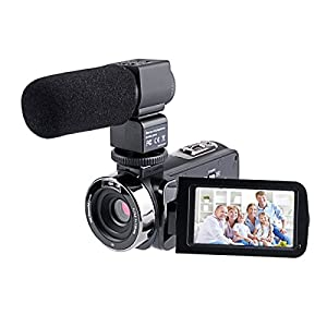 24 MP Full HD Caméscope Vidéo 16X Zoom, Vision de Nuit infrarouge + Microphone stéréo + Télécommande, 3.0 pouce LCD écran (rotation de 270 degrés avec écran tactile)