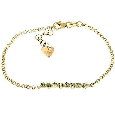 QP joailliers naturel Bracelet en or 9ct péridot rond coupe, 1.55Ct-5085y