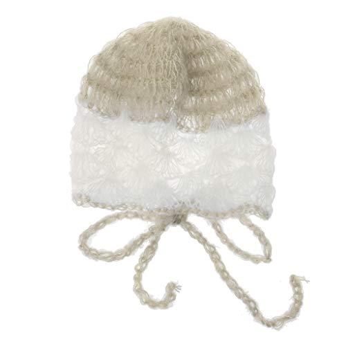 Hacloser Baby Mohair Hat Handmade Shell Crochet Knit Soft Mohair Bonnet Newborn Photography Props ()