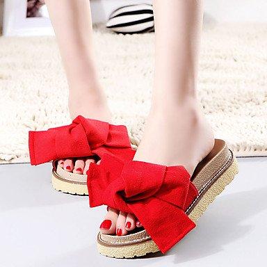 Women'szapatos PU Verano zapatillas sandalias de tac¨®n plano Casual otros negro / verde / rojo US7.5 / EU38 / UK5.5 / CN38