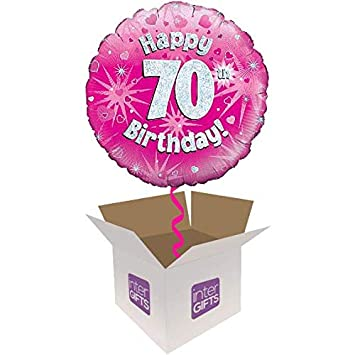 InterBalloon Helium Inflated Happy 70th Birthday Pink Holographic Balloon Delivered In A Box