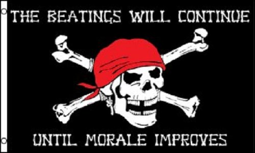 PIRATE FLAG 3x5 Beatings will Continue until Morale Improves Jolly Roger Ship ()
