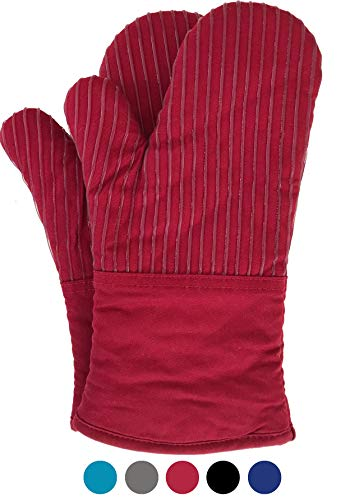 (BIG RED HOUSE Oven Mitts, with the Heat Resistance of Silicone and Flexibility of Cotton, Recycled Cotton Infill, Terrycloth Lining, 480 F Heat Resistant Pair Red)