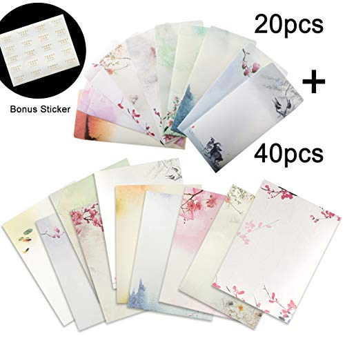 Total 60PCS Letter Writing Stationery Paper Letter Set (40 stationery Papers + 20 Envelopes) 10 Different Color Ink Painting Classic Vintage Antique Design]()