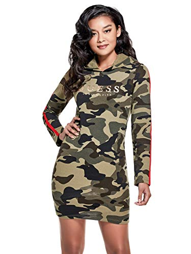 GUESS Factory Women's Camo-Print Logo Hooded Sweater Dress from GUESS Factory