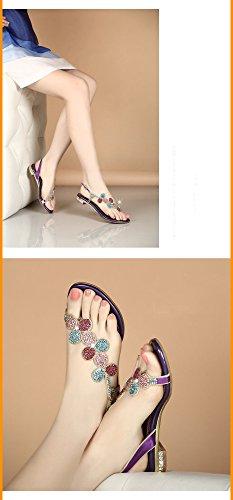 y de Chanclas de con Zapatillas Verano Diamantes Planas de Sandalias Zapatos con Imitación 36 de Plana Púrpura Flores Cuero Femenina Plana Bajas Punta de Sandalias de SBL Mujer wq61OgWHt6