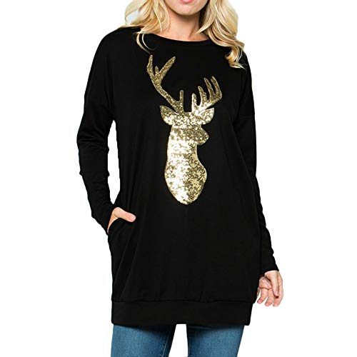 Inverlee Women Christmas Long Sleeve Wapiti Blouse Sweatshirt Pullover Casual Tops by Inverlee Blouse