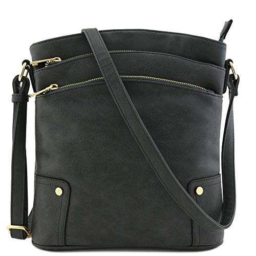 Top Zip Cross Body - Triple Zip Pocket Large Crossbody Bag Dark Gray