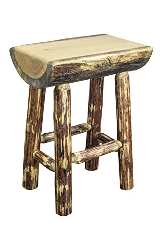 Montana Woodworks Montana Collection Counter Height Half Log Barstool with Exterior Finish Log Bar Chair