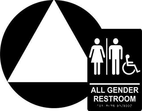 All Gender Restroom Sign Set, ADA Compliant Title 24 Set, Wall & Door Sign, Braille Grade II(Californian), Title 24,12 Diameter Round Door Sign & Tactile Wall Sign (Black)