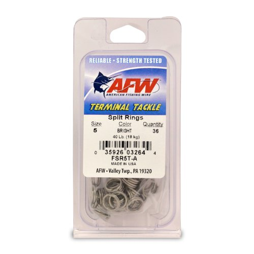 American Fishing Wire Split Rings (Stainless Steel), Bright Color, Size 5, 40 Pound Test, 36-Pieces