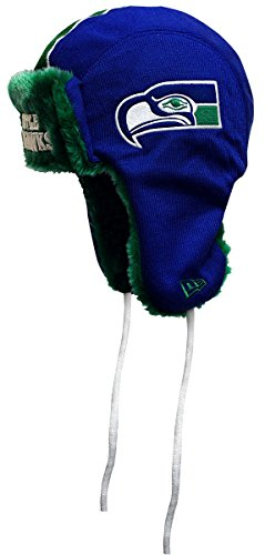 NFL Throwback New Era Helmet Head Knit Trapper, One Size (One Size, Seattle Seahawks) (Helmet Hawk Novelty)
