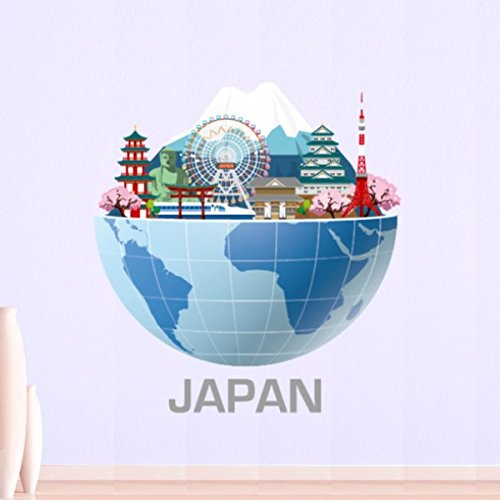 Japan Mount Fuji Tokyo Tower Sensoji Temple Global Architecture Landmark Statue Illustration Travel The World Wall Sticker Wedding Decor Vinyl Waterproof Wall Pvc Sticker Wallpaper Decal Removable