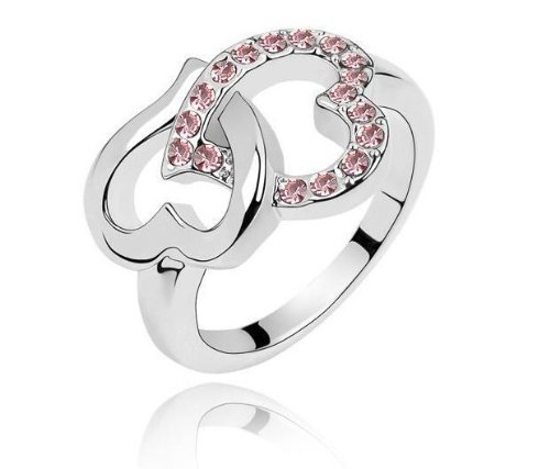 Qiyun New Arrival Heart To Heart Diamond Crystal Ring Women Finger - New Mall Of America Stores