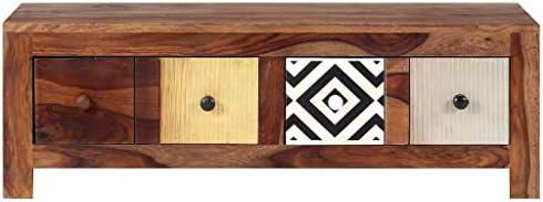2020 Nieuw Tidyard Sheesham-hout massief salontafel met 2 laden woonkamertafel bijzettafel koffietafel houten tafel 90x50x30cm palissander 6GAvwbe