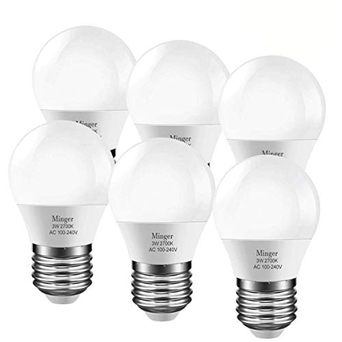 LED 3W (25 Watt Equivalent) Light Bulbs, Warm White 2700K LED Energy Saving Light Bulbs, E26 Medium Screw Base LED Lights for Home Refrigerator Light Bulb(6 Pack) ()